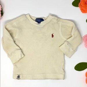 Ralph Lauren cream thermal shirt 9 months